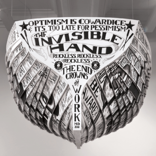 """""""Lifeboat: The Wreck of The Invisible Hand,"""" Engraved Vinyl Siding, Acrylic Paint, 2011"""