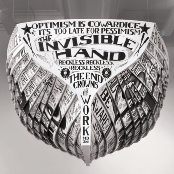 """Lifeboat: The Wreck of The Invisible Hand,"" Engraved Vinyl Siding, Acrylic Paint, 2011"