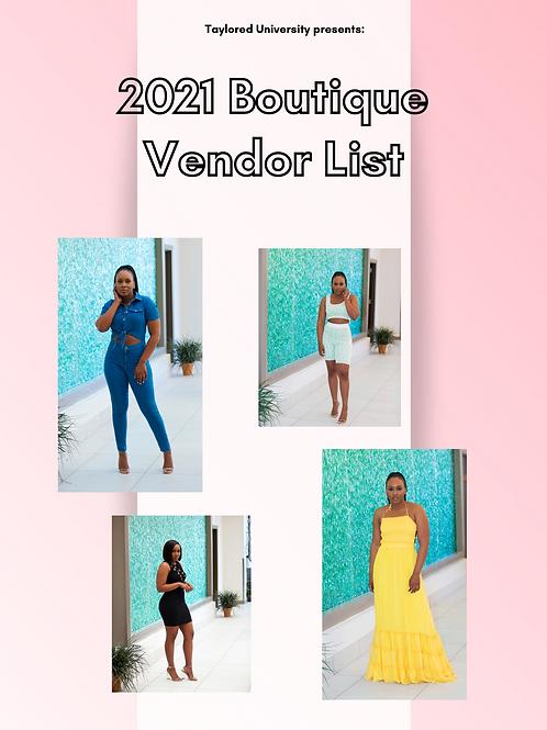 2021 Clothing Vendor List