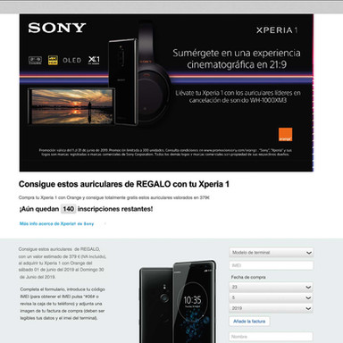Landing Page Promocional Sony
