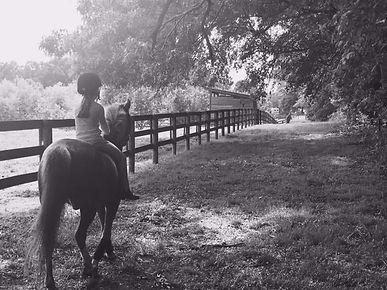 Girl on pony on farm