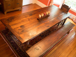 9ft Rustic Pine Table with Matching