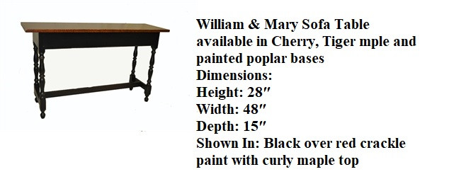 William & Mary Sofa Table_