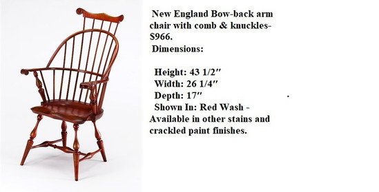 New England Arm chair with comb & knuckl