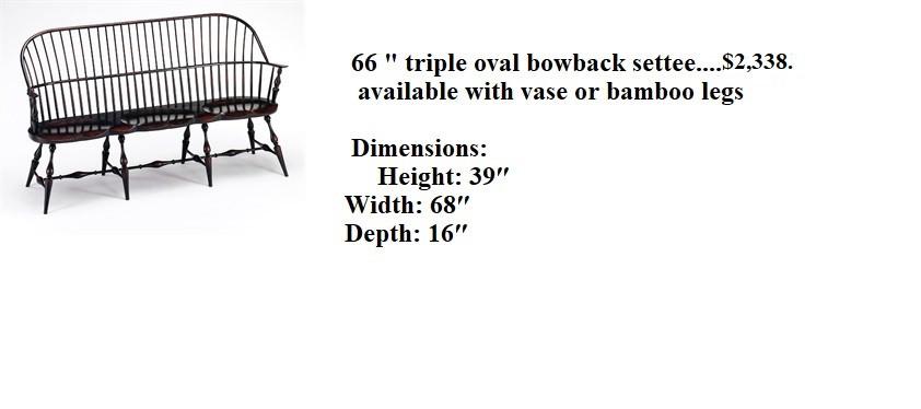 66 Triple Oval Bow Back Settee