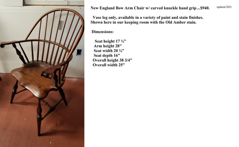 New England Bowback arm chair with knuck