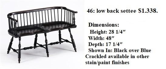46 inch Low Back Philadelphia Settee