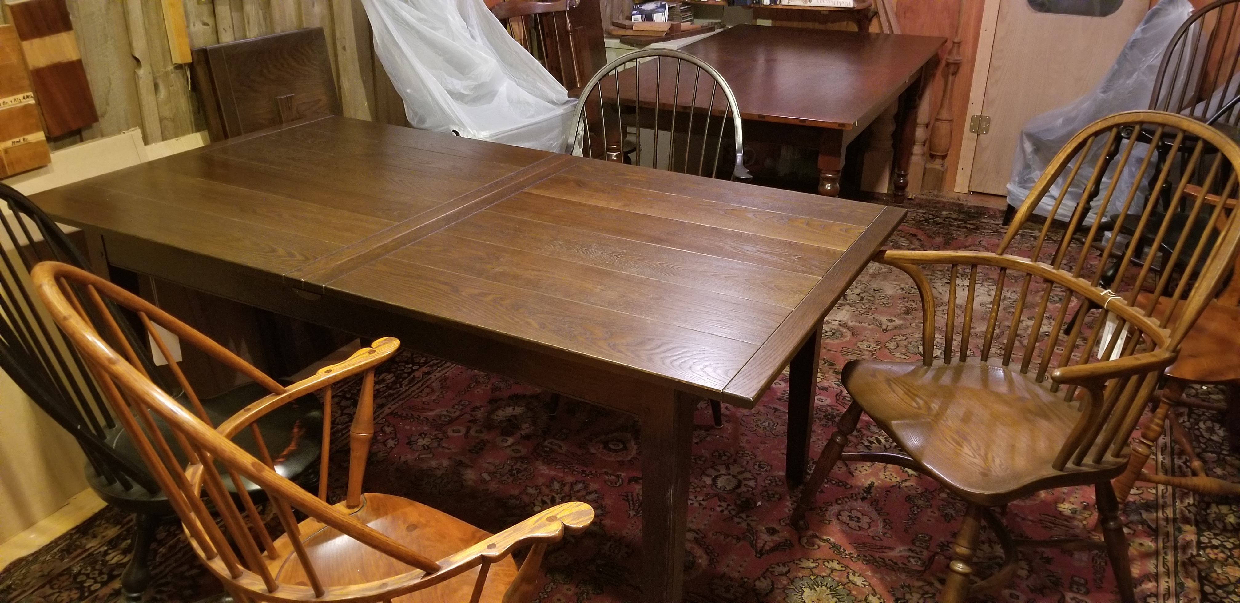 oak center leaf table