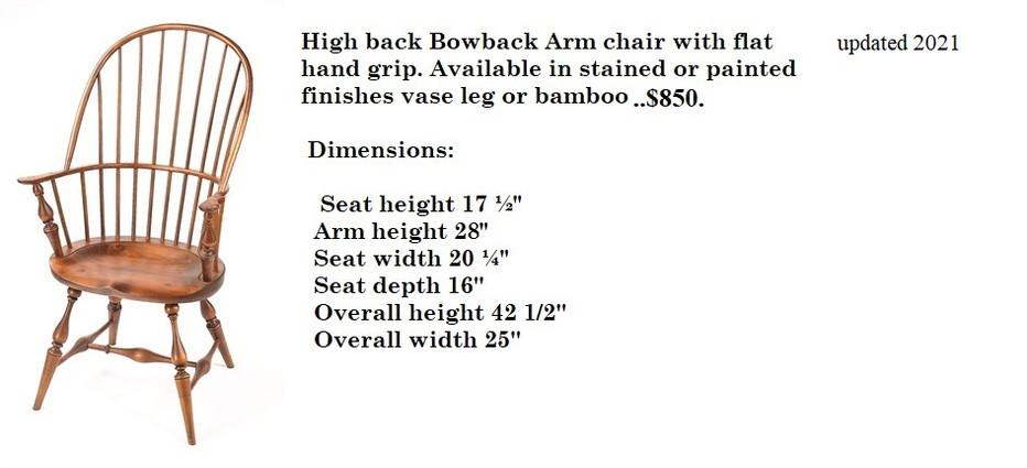 High Back Bow Back Arm Chair w/flat grip