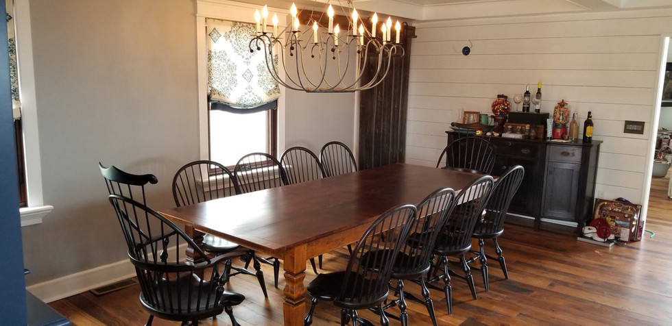 Reclaimed Pine top table with Windsor ch