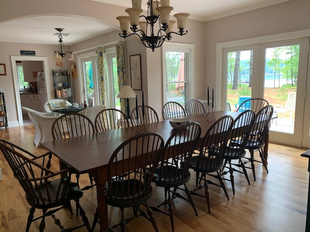 10.5' Hand planed Red Pine Farm Table wi
