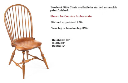 Bowback side chair shown with vase leg,
