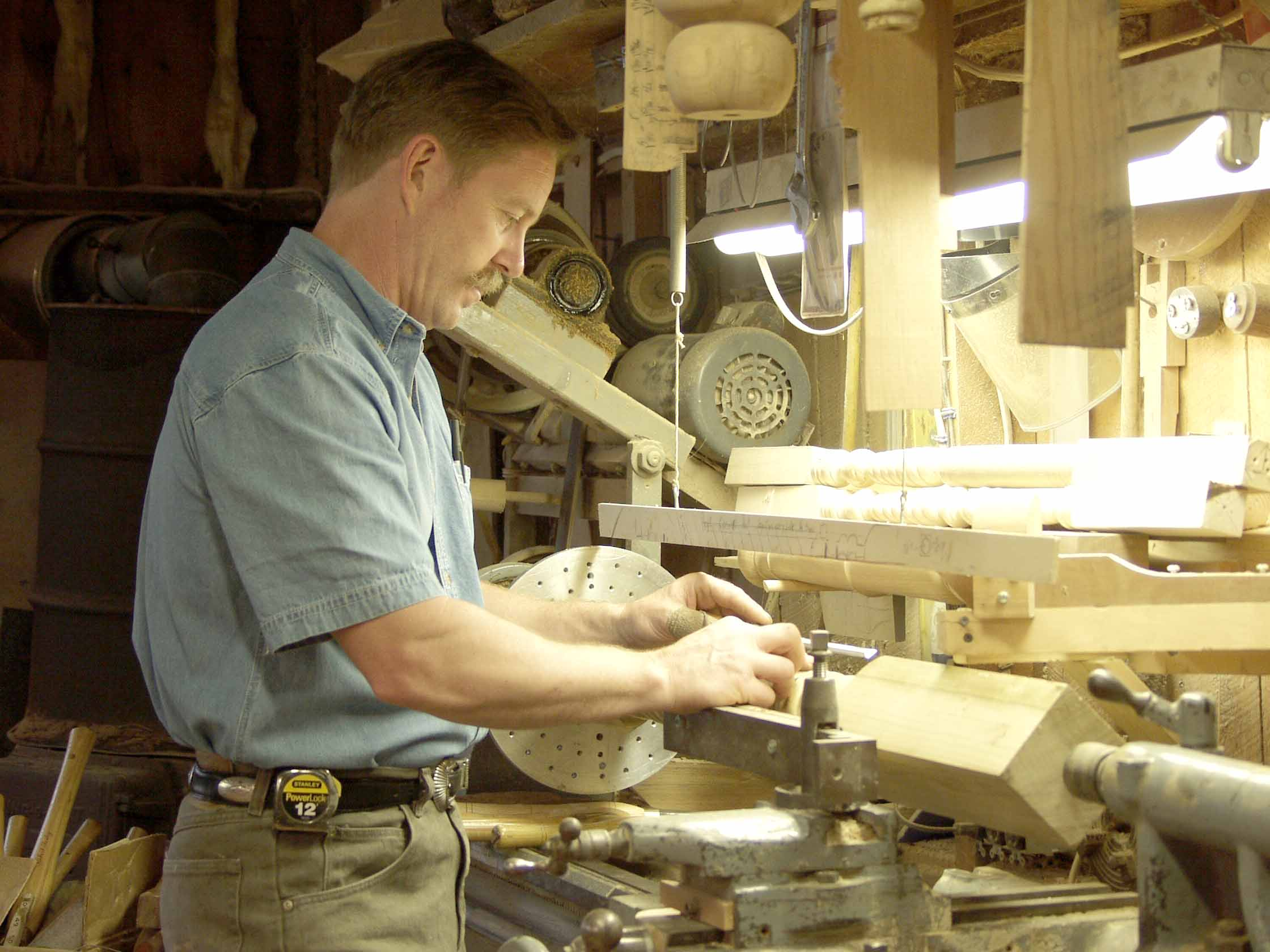Jim working on the lathe