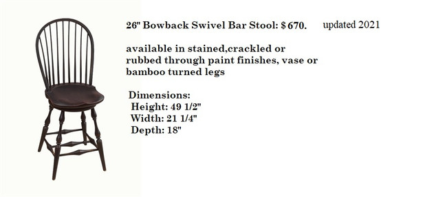 26inch Bowback Swivel Bar Stool