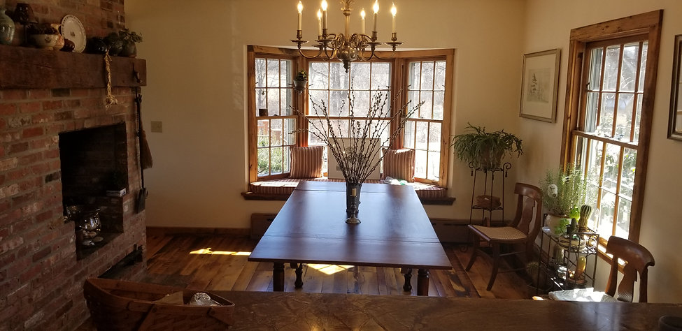 Reclaimed wood top farm table with end l