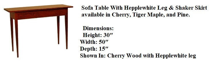 Cherry Sofa Table With Hepplewhite Leg &