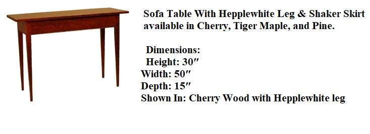 Cherry Sofa Table With Hepplewhite Leg &