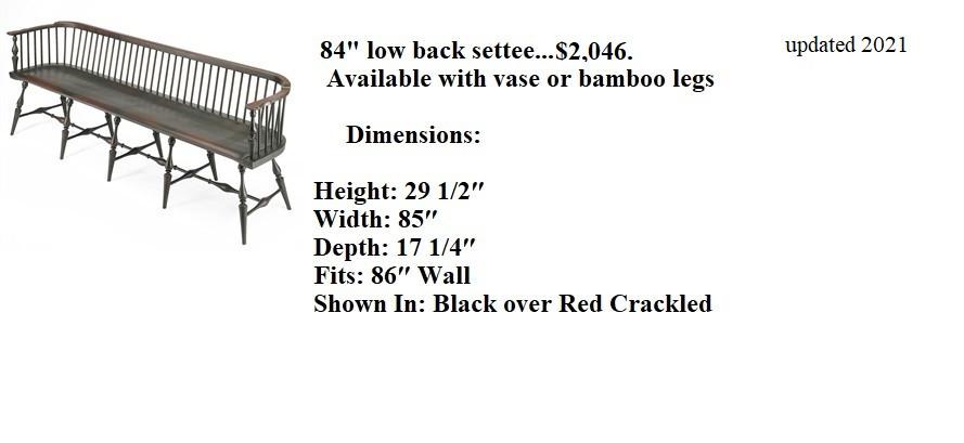 84 low back settee