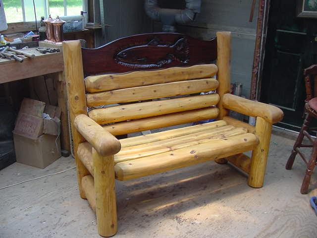 hand carved white cedar log bench
