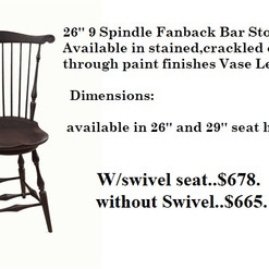 26 inch 9 Spindle Fanback Bar Stool