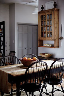 Bowback side chairs in a country kitchen
