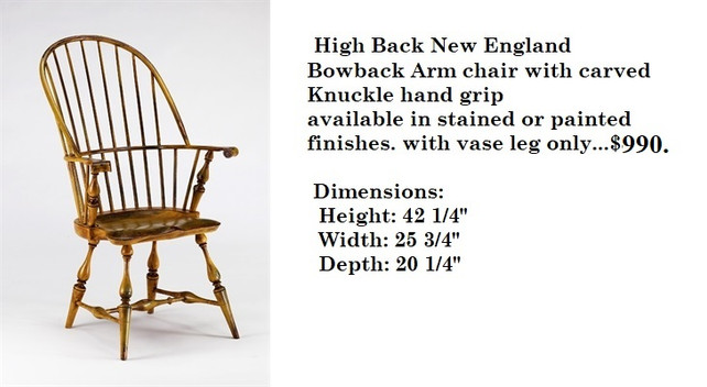 High Back New England Bow Arm chair with