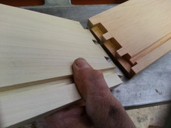 Hand cut dove tails going together
