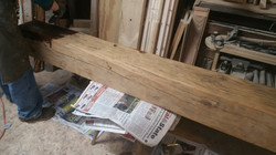 Hand Hewn Beam for fireplace mantle