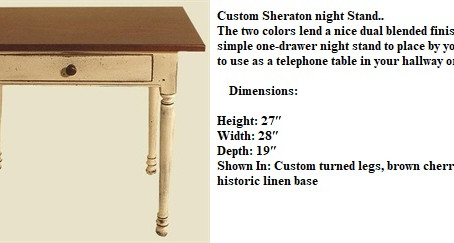 Custom Sheraton night stand_
