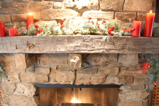 Reclaimed beam fireplace mantles