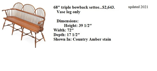 68 triple bowback settee