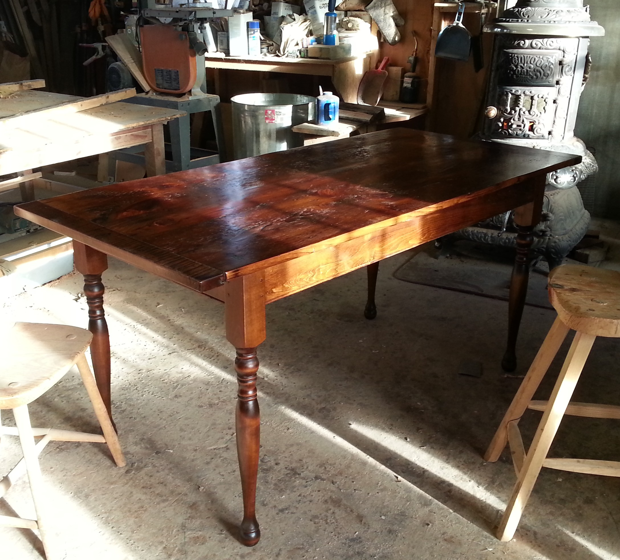 Small reclaimed Fir kitchen table #6