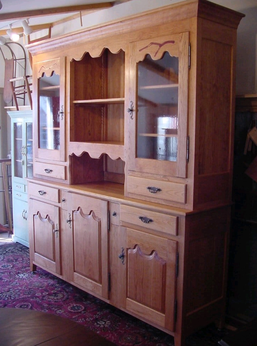 Custom Hutch with antique glass doors