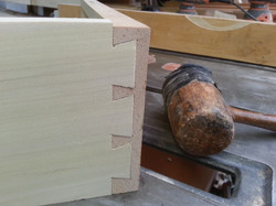 Hand cut dove tail drawer