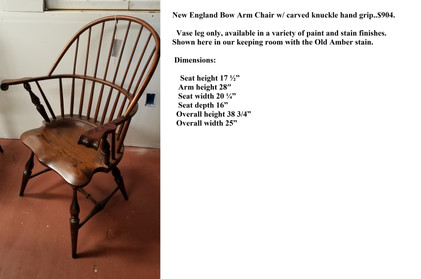 New England Bowback arm chair with carve