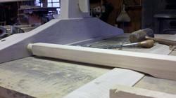 Ash slide for trestle table leaves