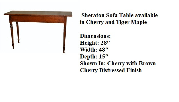 Sheraton sofa table 28 x 48 x 15 deep ch