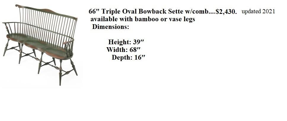 66 triple oval bowback  settee.