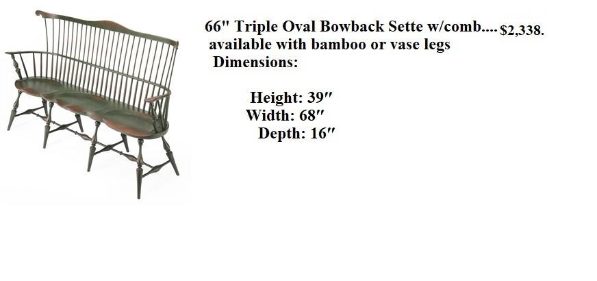 66 triple oval bowback  settee