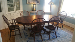 Reclaimed Fir top round table with Windsor chairs