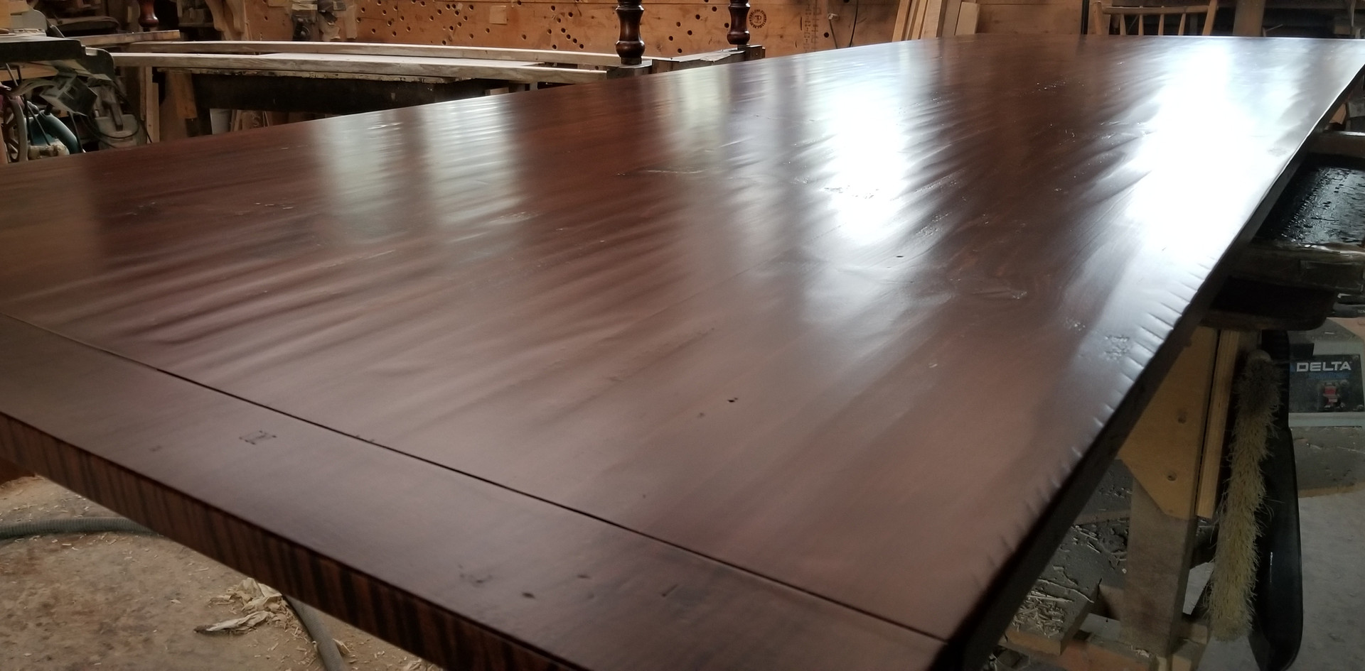 Hand planed Red Pine table top