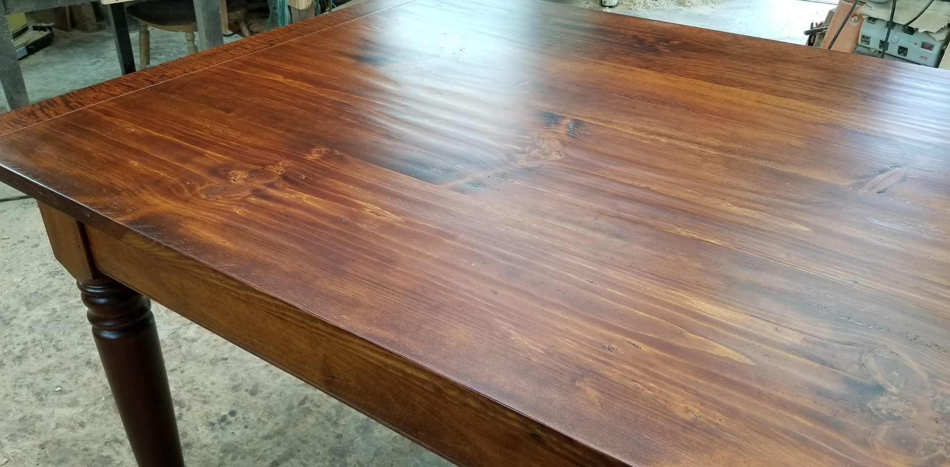 Hand planed table top in Red Pine