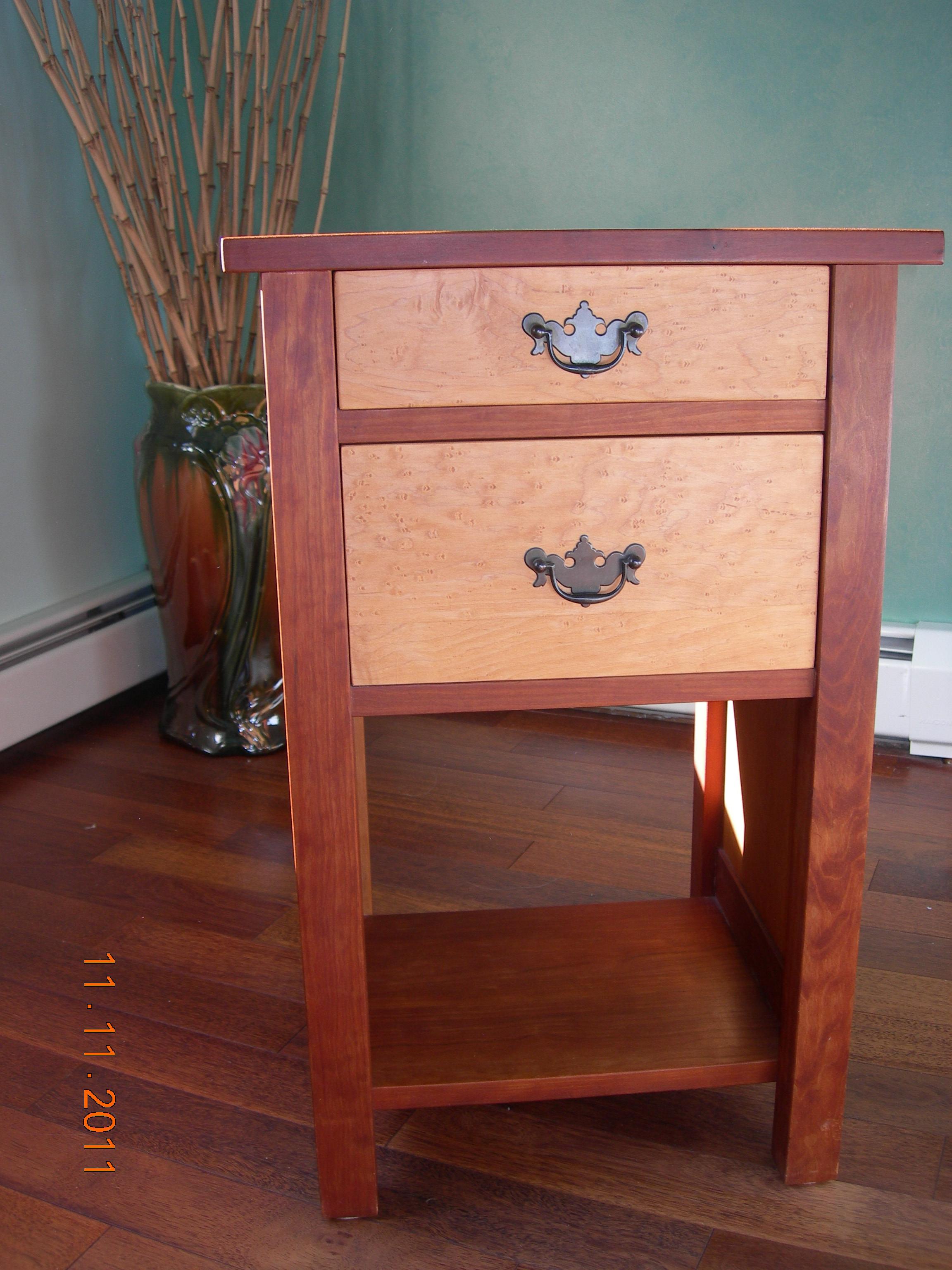 Cherry, Birdseye Maple side tables