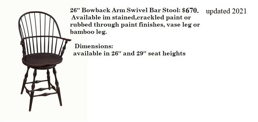 26 Bowback Arm Swivel Bar Stool