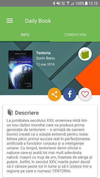 Tentoria - Cartea zilei pe aplicatia iZiLIT