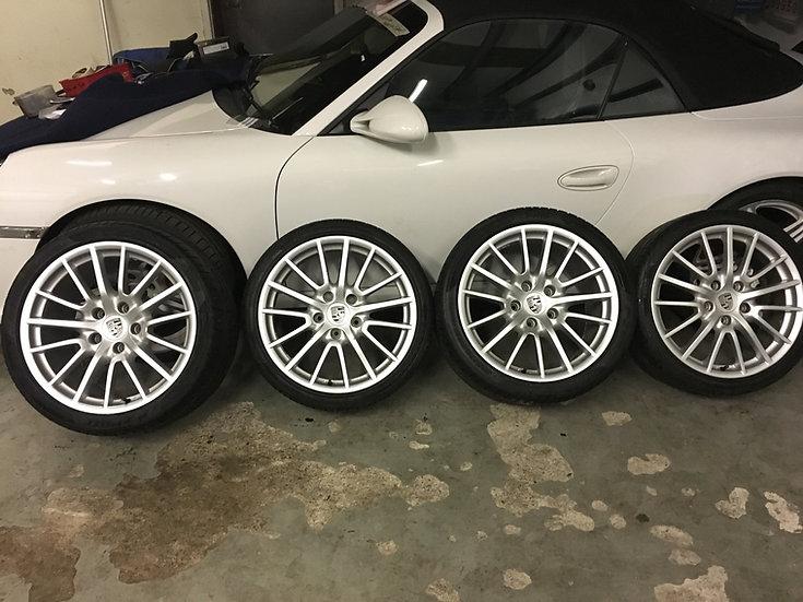 "Genuine Porsche 911 997 C4S Targa Sport Design 19"" Wheels Tyres Turbo Pirelli GT"