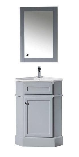 "Hampton Grey 27"" Corner Vanity with Medicine Cabinet"