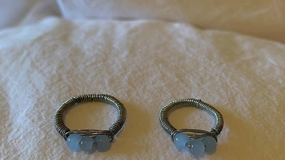 Sky blue Glass bead RINGS