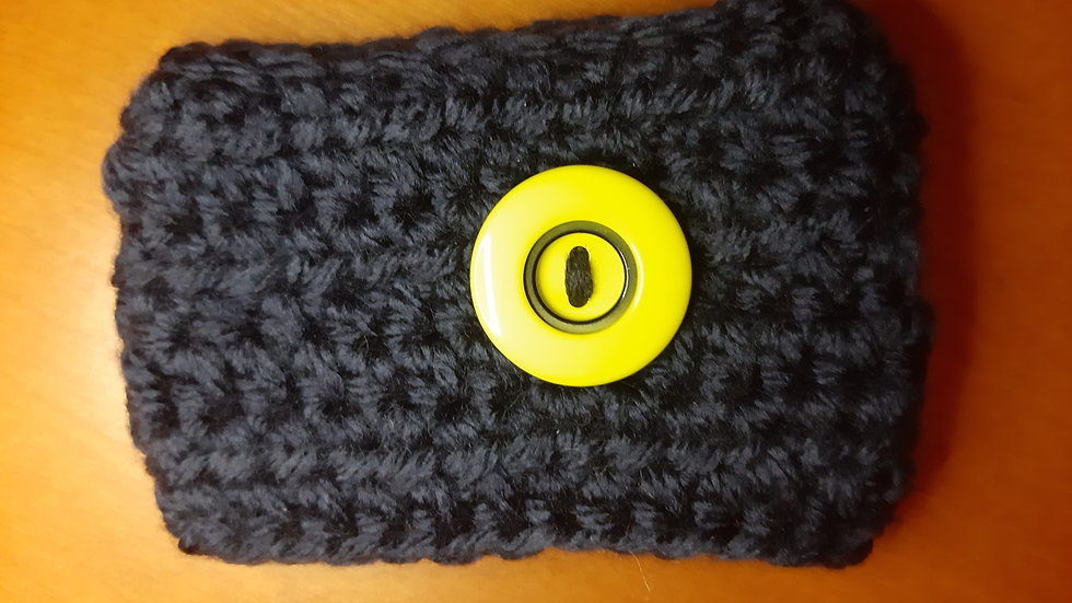Coffee kozies- Navy with yellow button