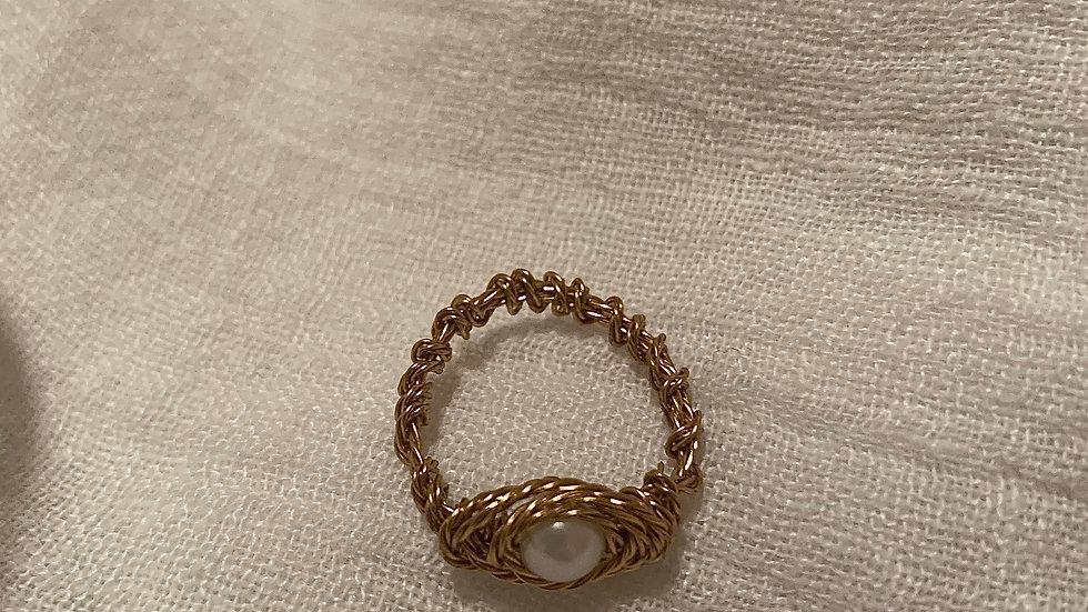 Single Pearl braided RING